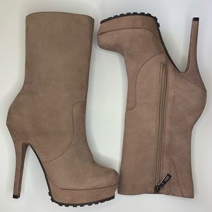 Schutz Tall Heeled Boots Leather Tan Size 8